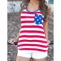 Wholesale Usa Flag Tank Top Women - 2017 Fashion Women Summer Sexy Sleeveless Tops American USA Flag Print Stripes Tank Top for Woman Blouse