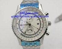 correa de cuero marrón reloj de lujo al por mayor-Relojes de lujo Caja libre Cronógrafo Reloj de cuarzo Reloj azul para hombres Cinturón de cuero marrón Reloj Siliver Skeleton para hombres