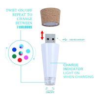 Wholesale Wine Bottle Shaped Usb - Colorful USB Shape LED Empty Wine Bottle Night Light Cork Stopper Rechargeable Lamp Creative Bar Decoration