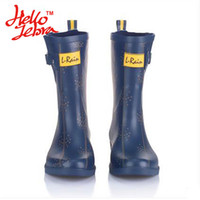 Wholesale New Design Rain Shower - Women Fashion Rain Boots Printing Meteor Shower Ladies Rubber Low Heel Slip Waterproof Buckle Rainboots 2016 New Fashion Design Deep Blue