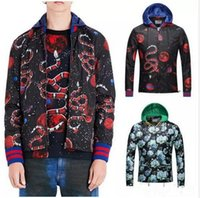 space freight - 2017 NEW D Printed Snake Space Floral Nylon Causal Windbreaker Man Adjustable Hem Detachable Hooded Full Zip Jacket Free freight size M X