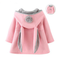 Wholesale Baby Coats Ears - Cute Rabbit Ear Hooded Baby Girls Coat New Autumn Tops Kids Warm Jacket Outerwear & Coat Children Clothing Baby Wear Girl Coats