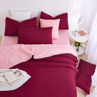 Wholesale Purple Rose Quilt Cover Set - Wholesale-2016 New Minimalist Bedding Sets Red Wine Color Duver Quilt Cover Bed Sheet Beige Pillowcase Soft Comfortable King Queen Full