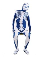 Wholesale Blue White Zentai - DHL Blue & White Skeleton Nude Suit Tight Zentai Body Spandex Stretch Mens Jumpsuit Adult