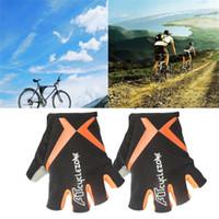 ingrosso guanto mezza dito arancione-Guanti sportivi per ciclismo all'aperto Guanti per biciclette GEL Sports Guanti mezze dita antiurto per ciclisti Viaggiatori Fitness Orange M-XXL