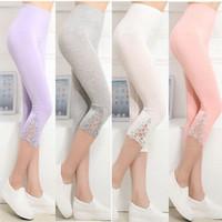 Wholesale Wholesale Lace Capri - Wholesale- Hot Womens Crop 3 4 Length Leggings Clothes Capri Cropped Lace Summer Modal High Quality pants