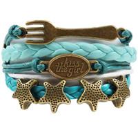 Wholesale Dropshipping Bracelet - Custom-Infinity Love Kiss the Girl Mermaid Bracelet Fork Starfish Charm Wrap Bracelet Turquoise Teal Custom Any Styles Dropshipping