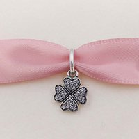 Wholesale Silver Leafs Wholesale - Genuine S925 Sterling Silver Beads Sparkling Lucky Clover Pendant Charm Fit Pandora ALE Style Bracelets & Necklace Four Leaf Clover Jewelry