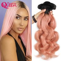Wholesale 18 Inch Pink Hair Extensions - 1B Pink Ombre Body Wave Brazilian Human Hair Weave Bundles Virgin Peachy Ombre Hair Extensions y R Hair Extensions 3 Bundles Free Shipping