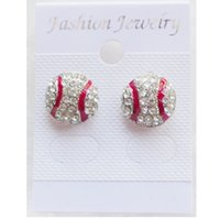 Wholesale Cheap Girls Studs - new arrival good cheap New High quality Sport Softball Crystal Rhinestone Stud Earrings Fashion Jewelry Earrings For Women And Girl