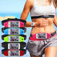 Wholesale Elastic Running Belt - Waterproof Running Sport Waist Belt Pouch Reflective elastic Adjustable Band Breathable Waist Mobile phone Bag For iPhone Android Smartphone