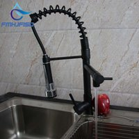 Wholesale Rubbing Oils - Wholesale- Luxury Oil Rubbed Bronze Spring Kitchen Faucet Spring Spout Deck Mounted Single Handle Hole Vessel Mixer Hot & Cold Tap
