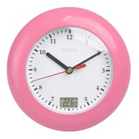 Wholesale Quartz Bathroom - New Baldr Thermometer Bathroom Wall Clocks Temperature Display Wall Hanging By Suction Cups Analog Waterproof Shower Watch Clock