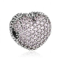 Wholesale 925 Silver Charm Bead Stopper - 2017 Valentines Day Pave CZ Open My Heart Clip Charms Bead 925 Sterling-Silver-Jewelry Stopper Lock Beads DIY Brand Bracelets Accessories