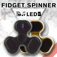Wholesale Sd Switches - 2017 MP3 Audio Music Player LED Fidgets Hand Spinner With Micro SD TF Card Portable Speaker Fidget Spinner With Switch Free DHL LEDB09