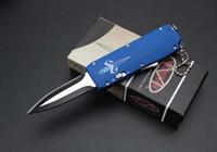 Wholesale Wholesale Pocket Knife Bag - 18Pcs Mini Micro Automatic Knife 440C Titanium Blade Keychain Clasp EDC Pocket Knives With Nylon Bag