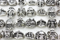 Wholesale bikers style silver rings resale online - Men s Metal Alloy Silver Punk Rock Gothic Skull Biker Jewelry Rings Mix Styles brand new
