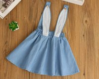 Wholesale Overall Denim Dress - ins girls summer denim bunny dresses girls cute Cartoon rabbit ear overalls high quality baby denim dress Easter girls dressfree shipping