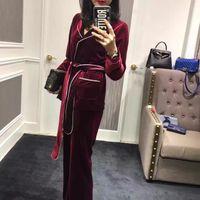 Wholesale designers blazers suit - New autumn designer fashion women bathrobe style stunning velvet women blazer tops + pants suit black red two piece set