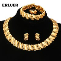 Wholesale Fashion African Luxury Wedding Bridal jewelry sets Statement chokers necklace earrings Ring Bracelets k gold plated Party Jewellery set