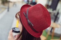 Wholesale Straws Red - 2017 new style Vogue Men Women Straw Hats Outdoor Stingy Brim Caps