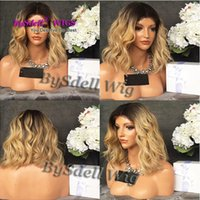 Wholesale Ash Blonde Short Wig - Hot Sale Cheap Heat Resistant Hair Wig Black Root Ombre Ash Smoke Pink Blonde Color Cheap Wigs Mermaid Unicorn Party Woman Short Wob Wigs