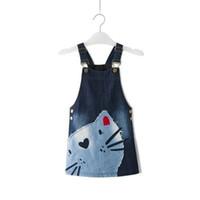 padrões de uma peça de vestido venda por atacado-2017 Moda Verão Princesa Menina Bebê Criança Bonito Sem Mangas Denim Cat Pattern Vestido De Uma Peça 2-7 T