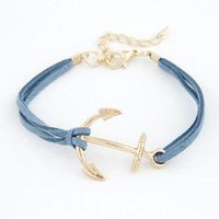 Wholesale Double Anchor Bracelet - Charm Bracelets Leather Bracelet Antique Anchor Charm Bracelets Double Layer Handmade Fashion Jewelry Accessory chain bracelet Brace lace