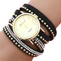 Wholesale Geneva Watch Alloy - Lady Bracelet Watch 3 Roped Casual Bohemia Leather PU Band Woman Geneva Crystal Beads Quartz Wristwatch Feminino