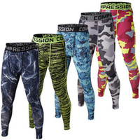 Wholesale Black Silk Trousers - Mens Compression Pants 2017 New Crossfit Tights Men Bodybuilding Pants Trousers Camouflage Joggers