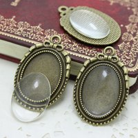Wholesale Diy Clear Glass Cabochon - Min Order 6sets antique bronzer bowknot cameo cabochon 27*39mm(Fit 18*25mm Diy) base setting pendant tray + clear glass cabochons D0377
