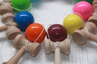 6CM paint colors games - Kendama Ball Toy PU painting beech Wooden Japanese Traditional Funny ball Game Education Toy Colors Christmas gift