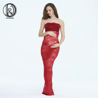 Wholesale Maternity Maxi Dresses For Summer - (150cm) Maternity Lace Maxi Long Dress Close-Fitting Sheath Style Free Size For Photography Props