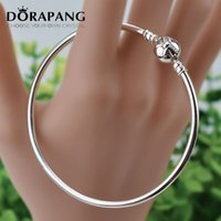 Wholesale Sterling Silver Tie Clips - DORAPANG Bangles Fits Original Charms Bracelet 925 Sterling Silver Clip Beads Bow Tie Bangle For Women DIY Gift Charm Wholesale 8003