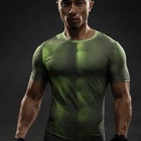 Wholesale Hulk T Shirts - HULK 3D T Shirts Avengers Compression Shirt Men Summer Short sleeve Fitness Crossfit Male Clothing Bodybuilding Tight Tops