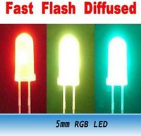 Wholesale Diffused Led Lens - F5 5mm RGB Fast Flash White Lens Diffused LED Beads 1000PCS