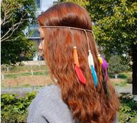 Wholesale White Peacock Headbands - Hair Bands for Women Bohemian Peacock Feather Headband Fashion Festival Hippie Headdress Knitted Belt White Cute Hair Accessory