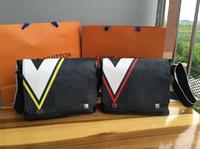 Wholesale Envelope Bag Leather Men - 2017 NEW men cobalt coated canvas district pm messenger bag