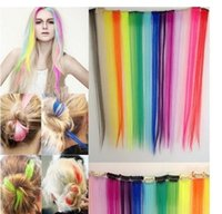Wholesale Hair Streaks Color - Cos European And American Punk Harajuku Color Streaked Piece Hair Real