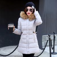 capucha de abrigo largo negro al por mayor-Envío gratis moda delgado túnica cremallera Puffer chaqueta de plumas negro rojo rosa gris para mujeres ropa largo abrigo abajo con capucha de piel sintética