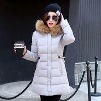ingrosso cappuccio lungo giacche-Piumino tunica sottile moda con cerniera lampo Piumino nero rosso rosa per le donne Abbigliamento lungo Giù cappotto con cappuccio in pelliccia sintetica