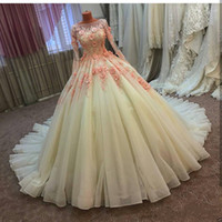 Wholesale Dress Size 18 Sleeves - 2017 Real Pictures Princess Wedding Dress Ball Gown Handmade Flower Lace Tulle Bridal Gown Formal and Plus Size 4 6 8 10 12 14 16 18 20 22+