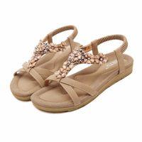 5d97b942b 2017 mulheres sandálias boemia flor verão mulheres sapatos slip-on flats  sandálias senhoras casuais sapatos tamanho grande