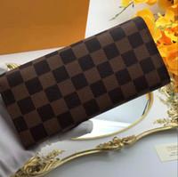 Wholesale Double Slots - Designer Luxury Brand Leather Emilie Wallets Men Women Long Purses M60136money Bags Double Zipper Pouch Coin Pockets