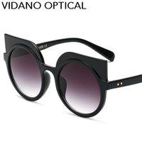 Wholesale Round Cateye Sunglasses - Vidano Optical New Arrival Women Cateye Rivet Sunglasses Men Classic Brand Designer Cat Eye Sun Glasses Unisex Fashion Round Sunglasses