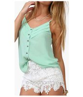 Wholesale Top Cropped China - Wholesale-2016 Fashion Women\\\\\\\'s Tanks Tops Fresh V-Neck Shirts Women Crop Top Sexy Chiffon Crop Tops Cheap China Clothes
