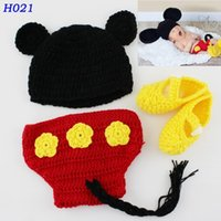 Wholesale Toddler Crochet Shorts - Newborn Crochet Baby Photography Props Handmade Children Mickey Mouse Beanie Hat Shorts and Shoe Set Toddler Costume 1Set H021