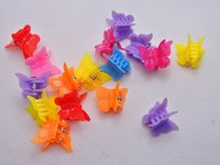 Wholesale Mini Hair Clamps - 50pcs mixed Color butterfly clips for kids Plastic Butterfly Mini Hair Claw Clips Clamp for Kids gift multicolor 1.8cm*1.5cm
