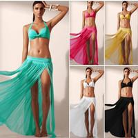 kafesli yüzme giyim toptan satış-Yaz Plaj Cover Up Mayo Bikini Etek Kadın Örgü Plaj Etek Swim Cover Up Beachwear Kadınlar Plaj Kıyafeti 5 Renkler