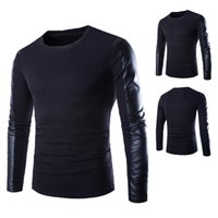 Wholesale Men Leather Sleeves Sweater - Wholesale- Brands Designer Autumn Winter Mens Sweaters Patchwork Long Leather Sleeve O Neck Jumpers Pullovers Male Christmas Sweater